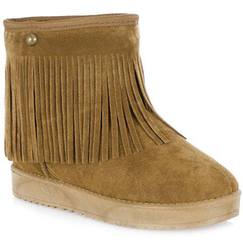 Casual Fringe and Flock Design Short Boots For Women - BROWN 37