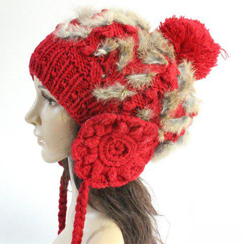 Chic Small Ball Pendant Crochet Flower Faux Fur Embellished Knitted Beanie For Women - RED