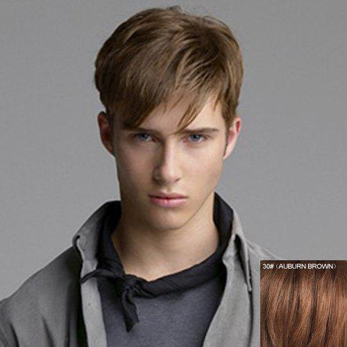 Fashion Straight Side Bang Masculine Short Capless Men's Real Natural Hair Wig - AUBURN BROWN