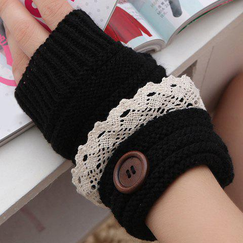 Pair of Chic Button and Lace Embellished Women's Knitted Fingerless Gloves - BLACK