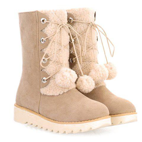 Sweet Lace-UP and Pompons Design Snow Boots For Women - APRICOT 38
