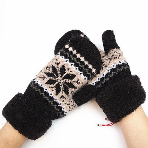 Pair of Chic Christmas Snowflake Pattern Thicken Women's Knitted Gloves - BLACK