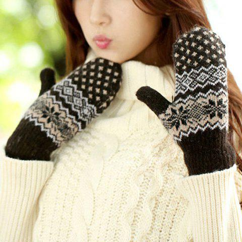 Pair of Chic Christmas Snowflake and Wavy Pattern Thicken Women's Knitted Gloves - BLACK
