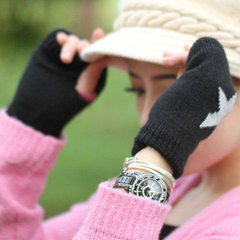 Pair of Chic Five-Pointed Star Pattern Women's Knitted Fingerless Gloves - BLACK