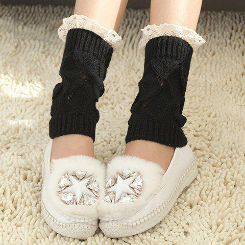 Pair of Chic Lace Brim Hollow Out Knitted Boot Cuffs For Women - BLACK