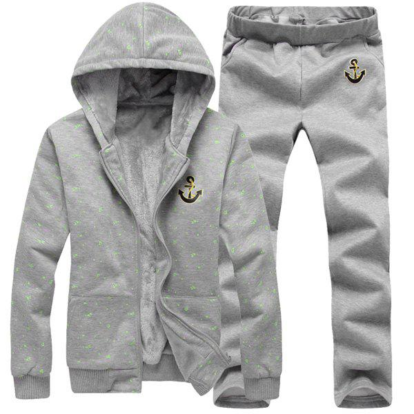 Anchor Embroidery Hooded Paint Dot Print Long Sleeve Men's Sherpa Hoodie Suit(Hoodie+Pants) hooded paint dot print anchor embroidery long sleeve men s sherpa hoodie suit hoodie pants