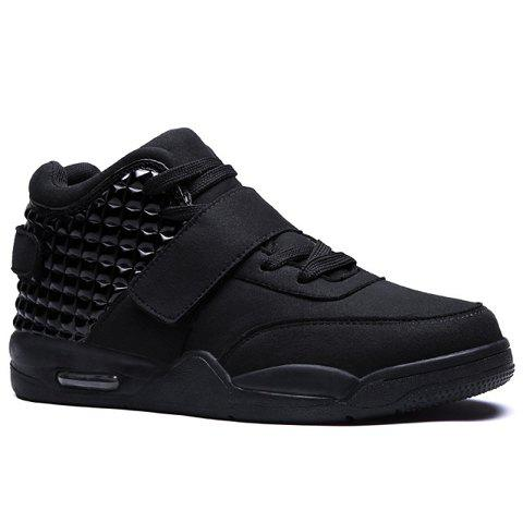Hook and Loop High Top Sneakers - BLACK 41