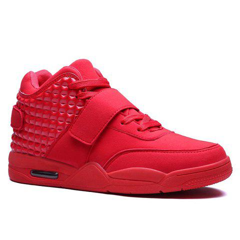 Hook and Loop High Top Sneakers - RED 43