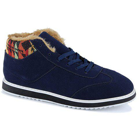 Fashion  Suede and Pure Color Design Casual Shoes For Men - BLUE 42
