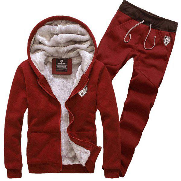 Badge Embroidery Hooded Long Sleeve Men's Sherpa Hoodie Suit(Hoodie+Pants) - WINE RED XL
