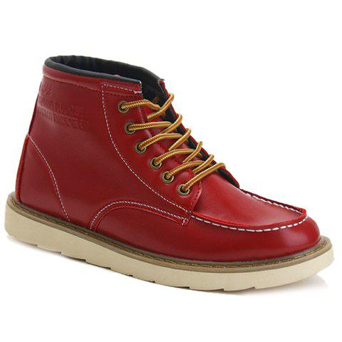 Stylish Letters Print and PU Leather Design Casual Shoes For Men
