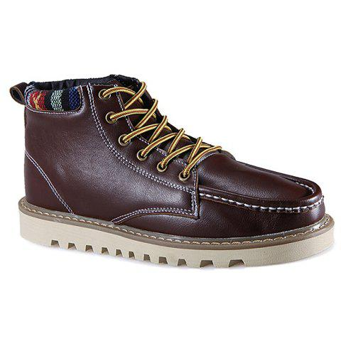 British Style Stitching and Pure Color Design Casual Shoes For Men - DEEP BROWN 44