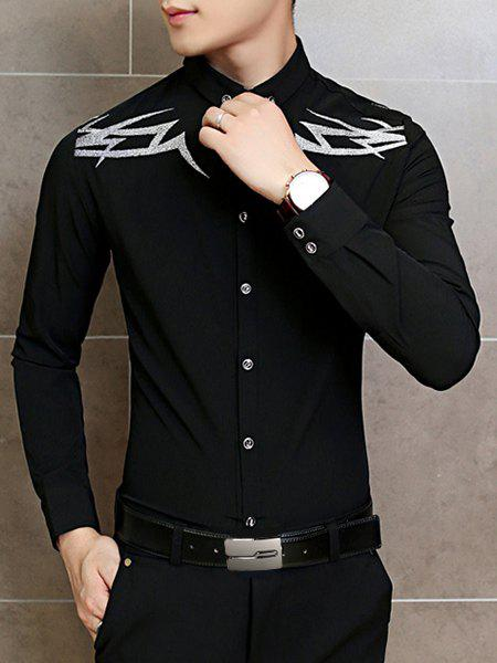 Embroidery Design Turn-Down Collar Long Sleeve Men's Button-Down Shirt - BLACK M