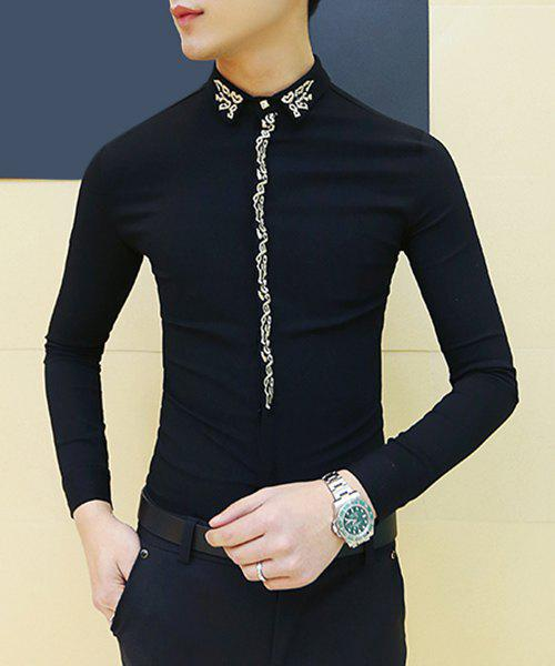 Turn-Down Collar Embroidery Design Long Sleeve Slimming Men's Shirt - BLACK M