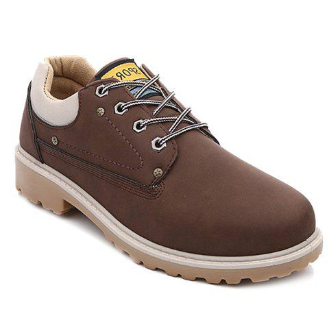 Simple PU Leather and Pure Color Design Casual Shoes For Men - DEEP BROWN 42