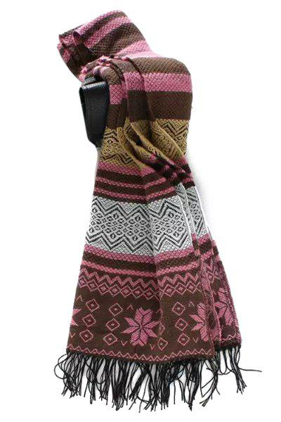 Chic Christmas Snowflake Tassel Scarf For Women - PINK