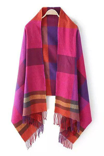 Chic Colored Plaid Tassel Pashmina For Women - ROSE