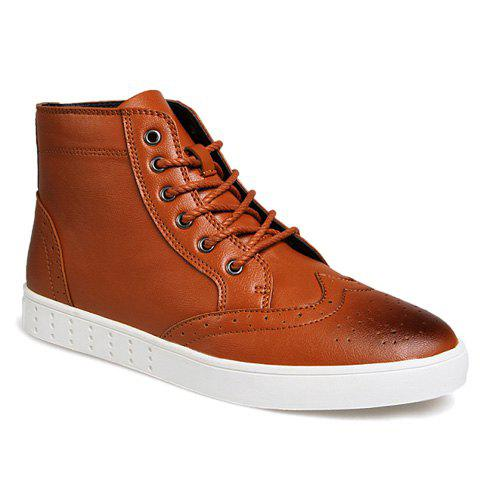 Retro Style Lace-Up and Engraving Design Casual Shoes For Men - LIGHT BROWN 42