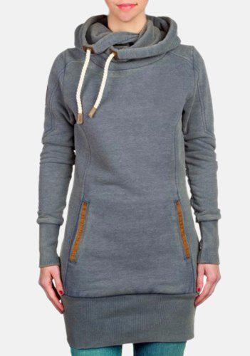 Charming Thick Skew Hooded Pocket Design Long Pullover Hoodie For ...