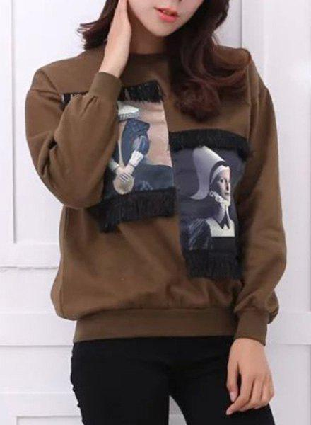 Stylish Women's Round Neck Long Sleeve Fringed Figure Pattern Sweatshirt