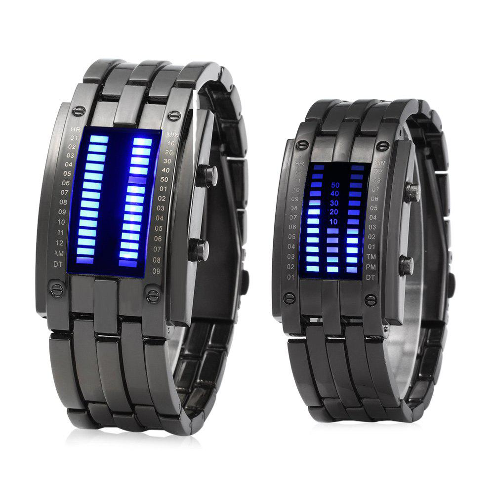 Date Binary Digital LED Bracelet Couple Watch Rectangle Dial -  BLACK