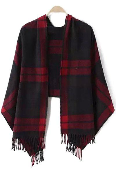Chic Dark Color Plaid Tassel Pashmina For Women