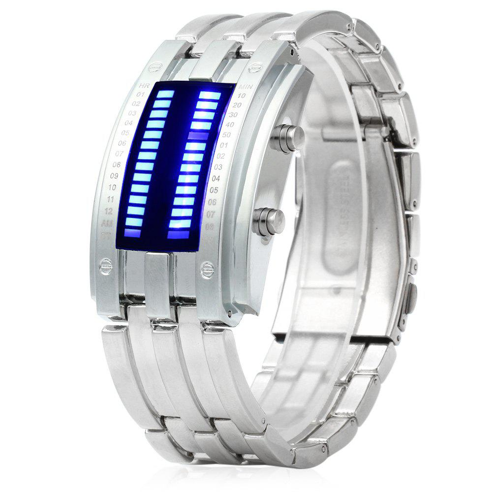 2018 Men Date Binary Digital LED Bracelet Watch Rectangle Dial ...