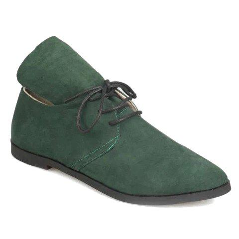 Trendy Suede and Pure Color Design Flat Shoes For Women - GREEN 35
