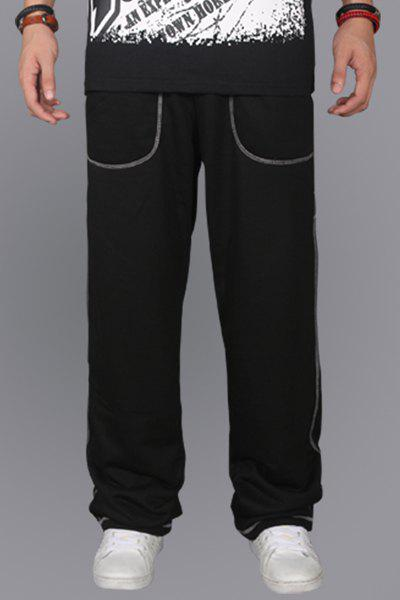 Simple Straight Leg Suture Line Embellished Loose Fit Men's Lace-Up Sweatpants - BLACK XL