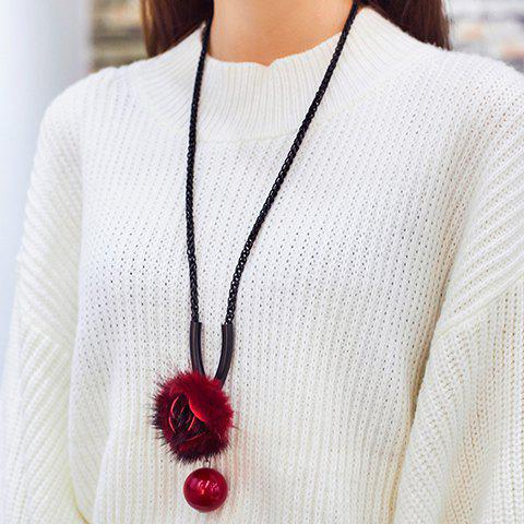 Chic Ball Plush Floral Sweater Chain For Women - WINE RED
