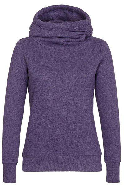 Simple Hooded Long Sleeve Slimming Solid Color Women's Hoodie - PURPLE L
