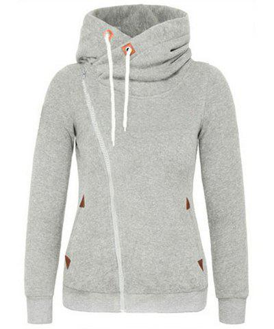 Trendy Hooded Skew Zippered Thick Long Sleeve Hoodie For Women - LIGHT GRAY M
