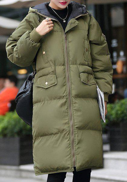 Trendy Women's Hooded Long Sleeve Solid Color Padded Coat - ARMY GREEN S