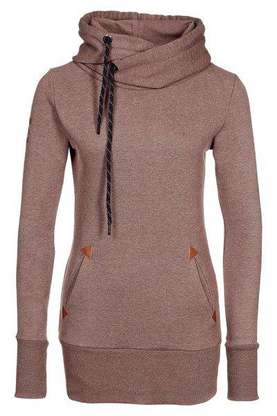 Chic Women's Hooded Long Sleeve Drawstring Pullover Hoodie, BROWN ...