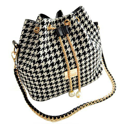 Stylish Houndstooth and Chains Design Shoulder Bag For Women