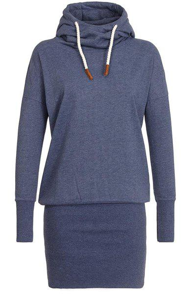 Stylish Long Sleeve Hooded Women's Hoodie Dress - PURPLISH BLUE XL
