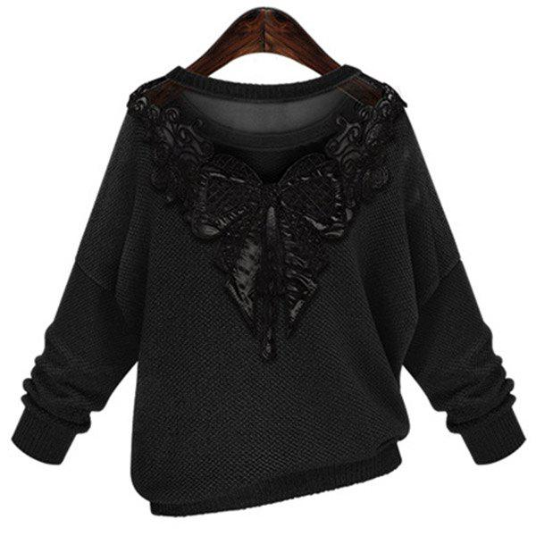 Stylish Women's Jewel Neck Long Sleeve Lace Splicing Bowknot Embellished Sweater - BLACK 4XL