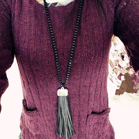Stylish Solid Color Cloth Tassel Sweater Chain For Women - BLACK