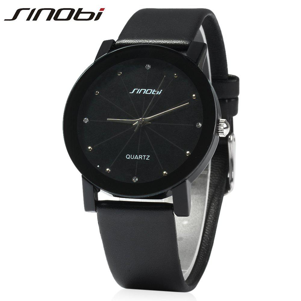 SINOBI 981 Men Analog Rhinestone Leather Band Quartz Watch - BLACK