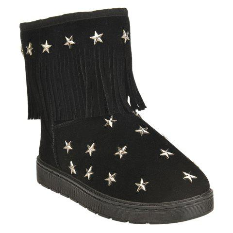 Stylish Pentagram and Fringe Design Snow Boots For Women - BLACK 37