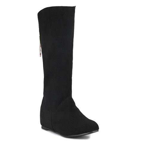 Concise Suede and Solid Color Design Mid-Calf Boots For Women - BLACK 38