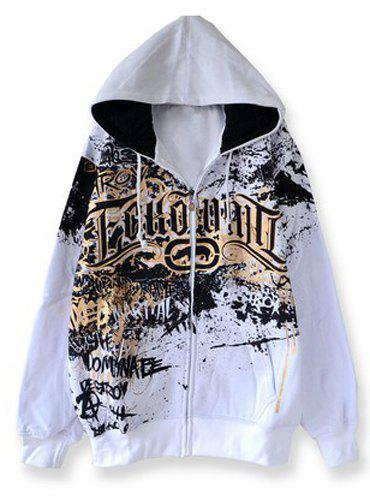 Personality Letters Print Front Pocket Hit Color Drawstring Hooded Long Sleeves Men's Flocky Hoodie - WHITE 2XL