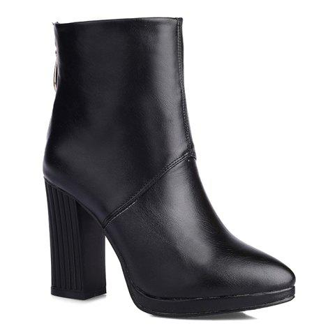 Simplicity PU Leather and Chunky Heel Design Short Boots For Women - 39 BLACK