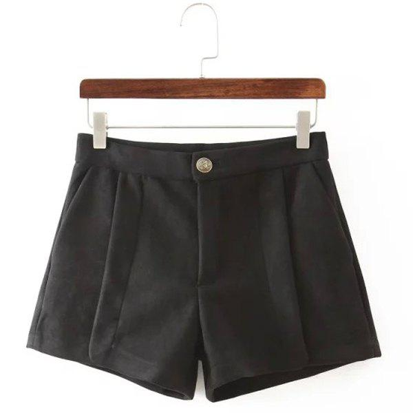 Chic Mid-Waisted Pocket Design Pure Color Women's Shorts - BLACK S