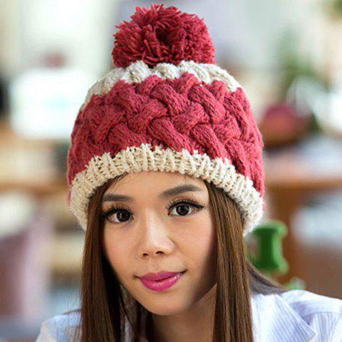 Chic Woolen Yarn Ball Embellished Weaving Women's Knitted Beanie - RED