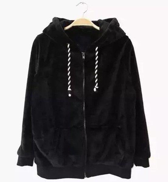 Chic Hooded Long Sleeve Zippered Pocket Design Women's Hoodie - BLACK M