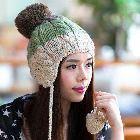 Chic Woolen Yarn Ball Pendant Embellished Color Block Women's Knitted Beanie - GREEN