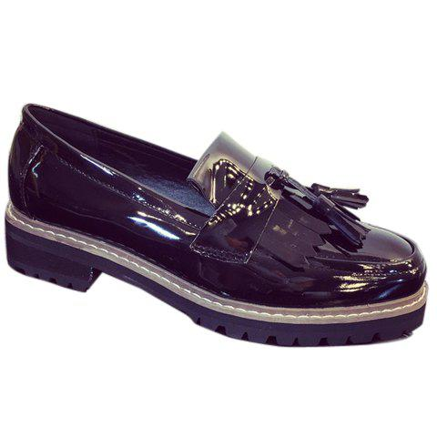 Trendy Patent Leather and Tassels Design Flat Shoes For Women - 36 BLACK