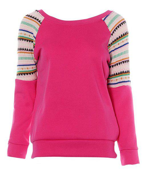 Casual Style Long Sleeve Scoop Collar Printed Women's Sweatshirt - ROSE ONE SIZE(FIT SIZE XS TO M)