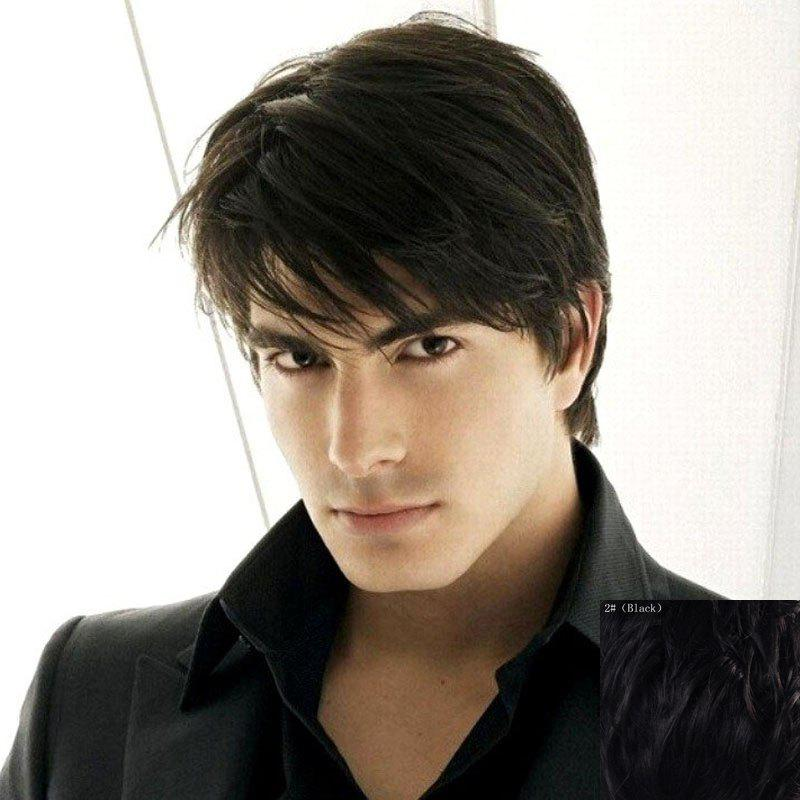 Fluffy Natural Straight Masculine Inclined Bang Capless Trendy Short Men's Human Hair Wig - BLACK